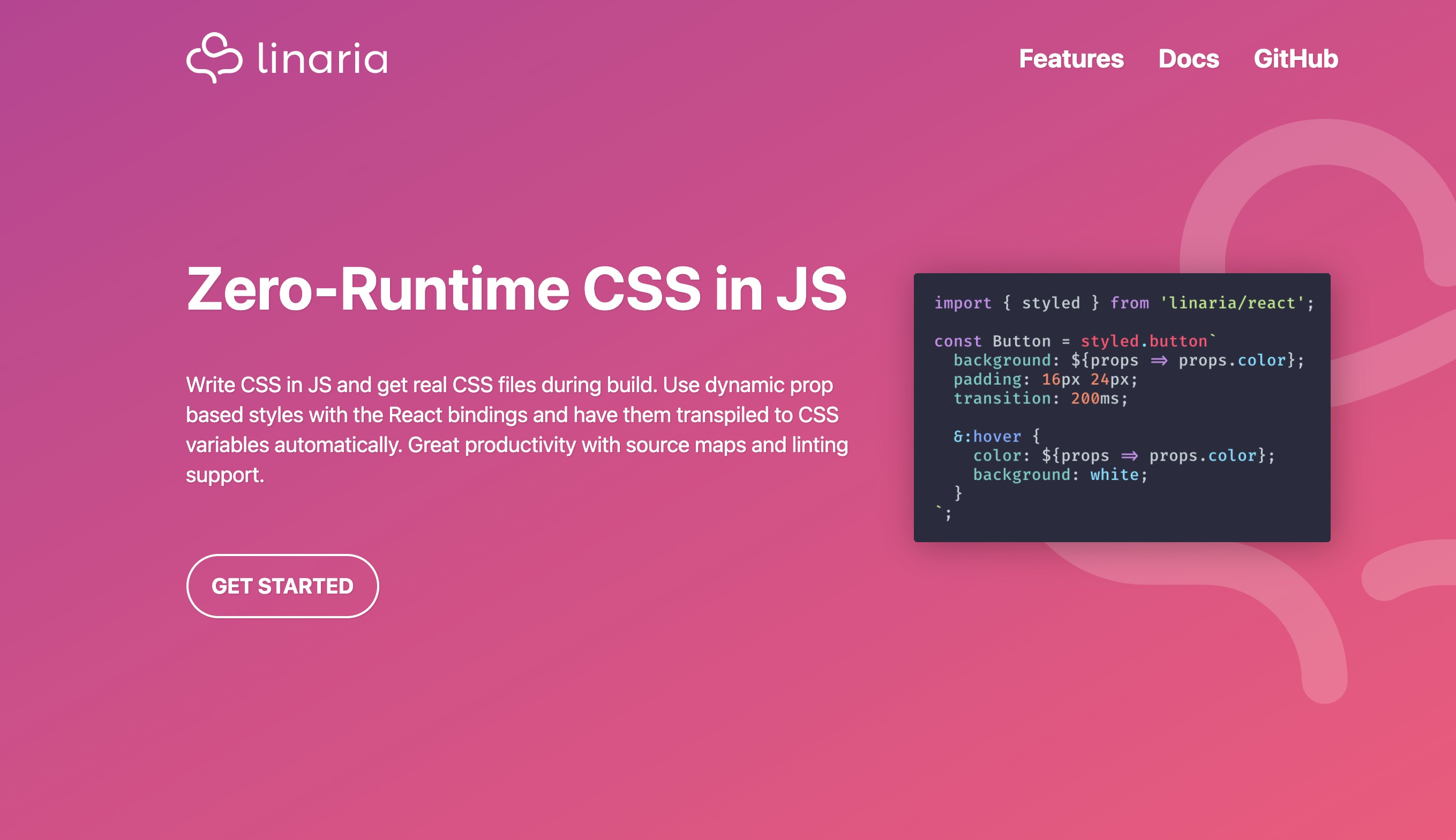 Linaria – zero-runtime CSS in JS library